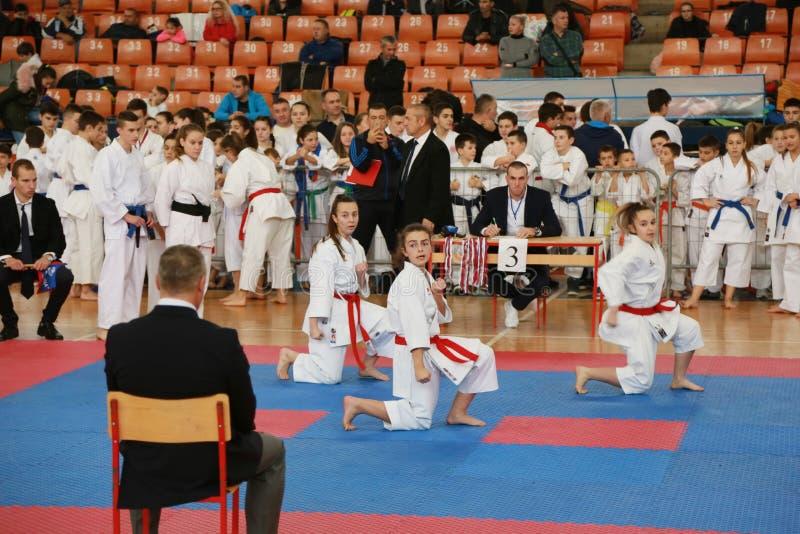 Leskovac, Servië Srbija 25 November INTERNATIONALE KARATE IPPON OPENT 2018: De sportencompetities van karatejonge geitjes in spor royalty-vrije stock foto's
