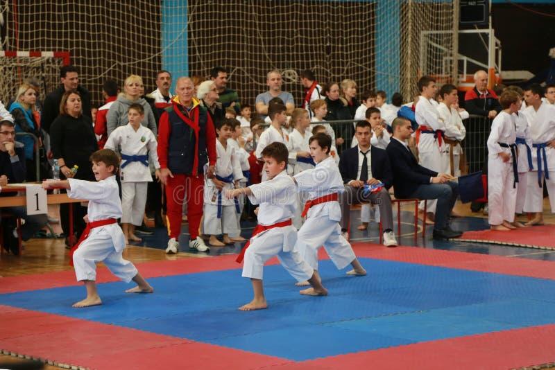 Leskovac, Servië Srbija 25 November INTERNATIONALE KARATE IPPON OPENT 2018: De sportencompetities van karatejongens in sporthal stock fotografie