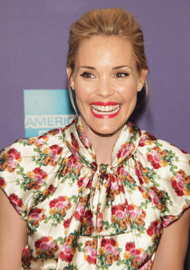 Leslie bibb. Fashion model turned actress Leslie Bibb enjoys her appearance on the red carpet for the premiere of a comedy in which she shars, A Good Old stock photography
