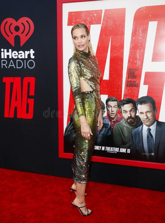 Leslie Bibb. At the Los Angeles premiere of `Tag` held at the Regency Village Theatre in Westwood, USA on June 7, 2018 stock images