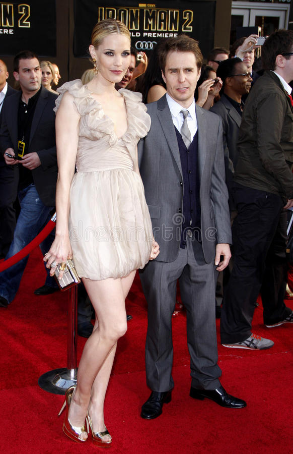 Leslie Bibb and Sam Rockwell. At the Los Angeles premiere of 'Iron Man 2' held at the El Capitan Theatre in Hollywood on April 26, 2010 royalty free stock photo