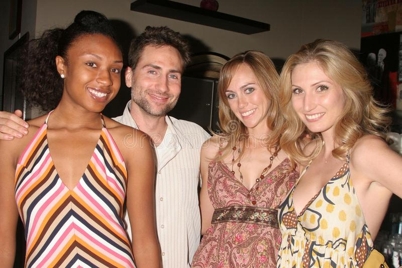 Leslie Durso. Troy Zestos with Leslie Durso and models at the Carole Bruns Couture Launch Party. Chroma Studio, Hollywood, CA. 04-20-08 stock photo