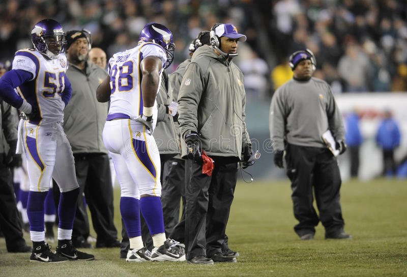 Leslie Frazier. Minnesota Viking head coach Leslie Frazier watches the action during 2010 game against the Philadelphia Eagles stock images