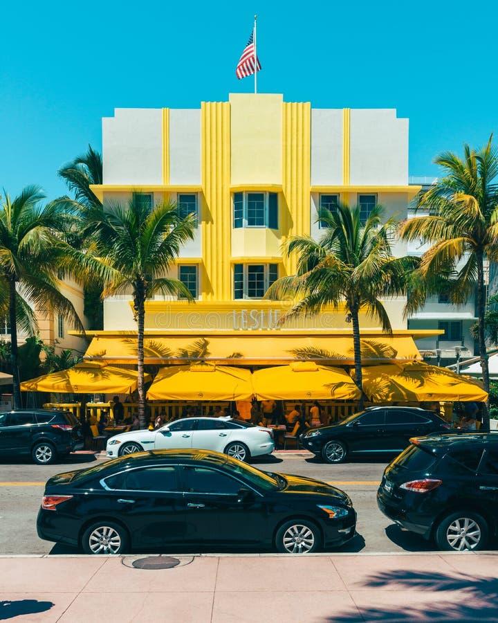 Leslie Hotel in het Zuidenstrand Florida de V.S. van Miami stock afbeeldingen