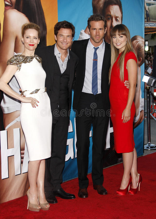 Leslie Mann, Jason Bateman, Ryan Reynolds and Olivia Wilde. WESTWOOD, CALIFORNIA - August 1, 2011. Leslie Mann, Jason Bateman, Ryan Reynolds and Olivia Wilde at royalty free stock image