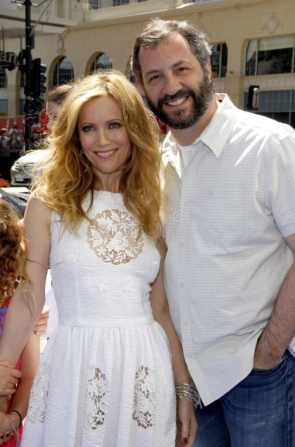 Leslie Mann and Judd Apatow. April 10, 2011. Leslie Mann and Judd Apatow at the Los Angeles premiere of Rio held at the Grauman's Chinese Theater in Los Angeles stock images