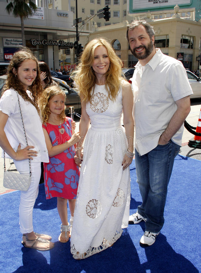 Leslie Mann and Judd Apatow. HOLLYWOOD, CA - APRIL 10, 2011: Leslie Mann and Judd Apatow at the Los Angeles premiere of 'Rio' held at the Grauman's Chinese stock image