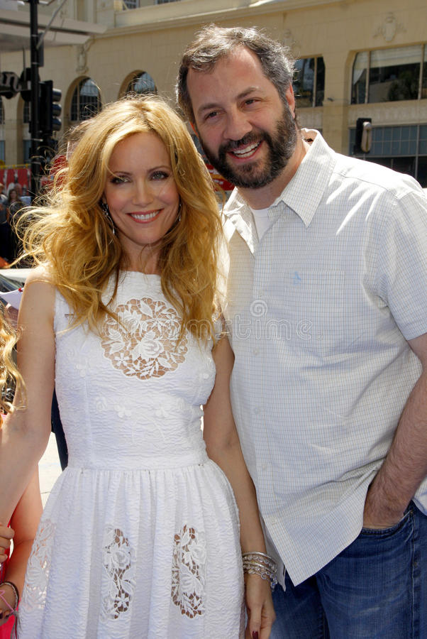 Leslie Mann and Judd Apatow. HOLLYWOOD, CA - APRIL 10, 2011: Leslie Mann and Judd Apatow at the Los Angeles premiere of 'Rio' held at the Grauman's Chinese royalty free stock images