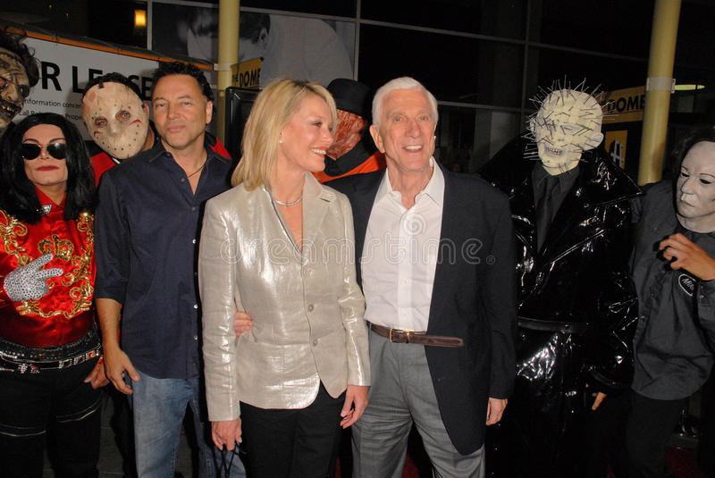Leslie Nielsen. And wife Barbaree Earl at the Los Angeles Premiere of Stan Helsing, Arclight Theater, Hollywood, CA. 10-20-09 royalty free stock photos
