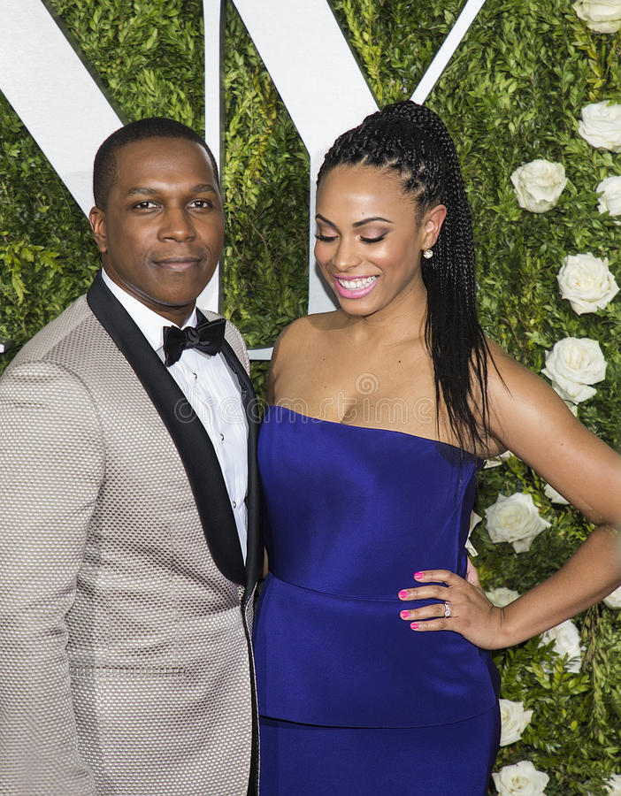 Leslie Odom Jr. and Nicolette Robinson. Talented and attractive married couple, former Tony winning actor Leslie Odom Junior and actress and singer Nicolette stock photography