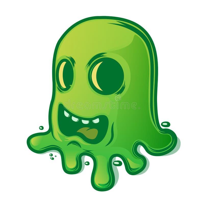 Lesma verde assustador isolada no fundo branco Símbolo de Halloween ilustração stock