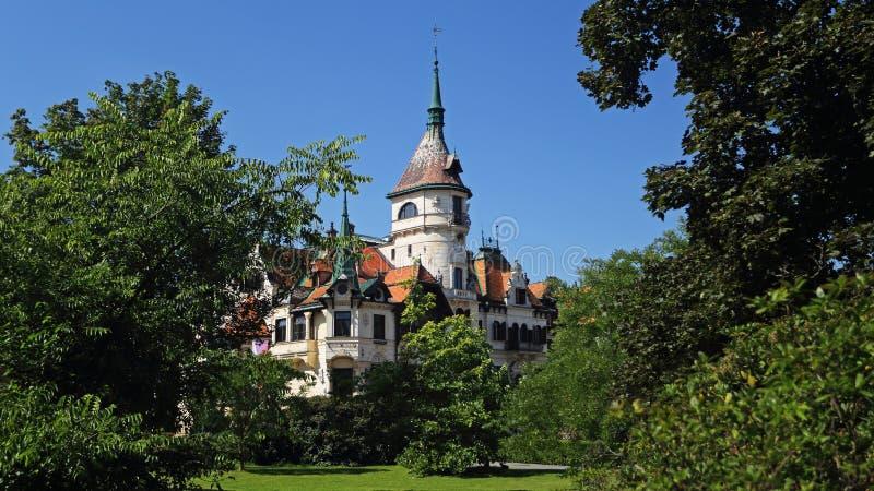 Lesna castle , Zlin , Czech republic. Lesna castle situated in ZOO Zlin grounds , Czech Republic royalty free stock image