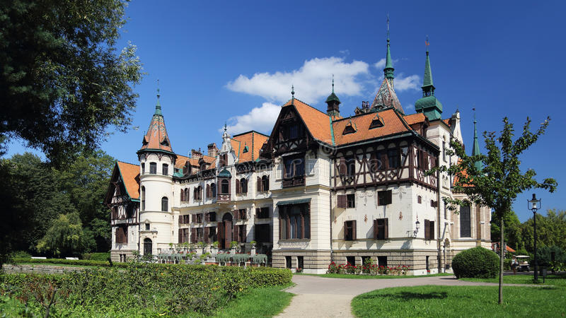 Lesna castle , Zlin , Czech republic. Lesna castle situated in ZOO Zlin grounds , Czech Republic stock photography