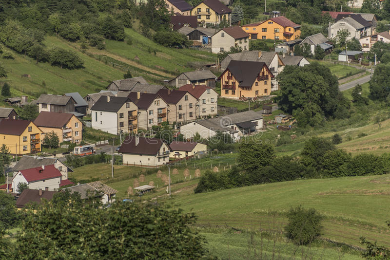 Lesnica village buildings in national park. Pieniny in Slovakia royalty free stock photography