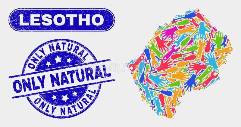 Lesothisk översikt för enhet och att bedröva endast naturliga stämplar stock illustrationer