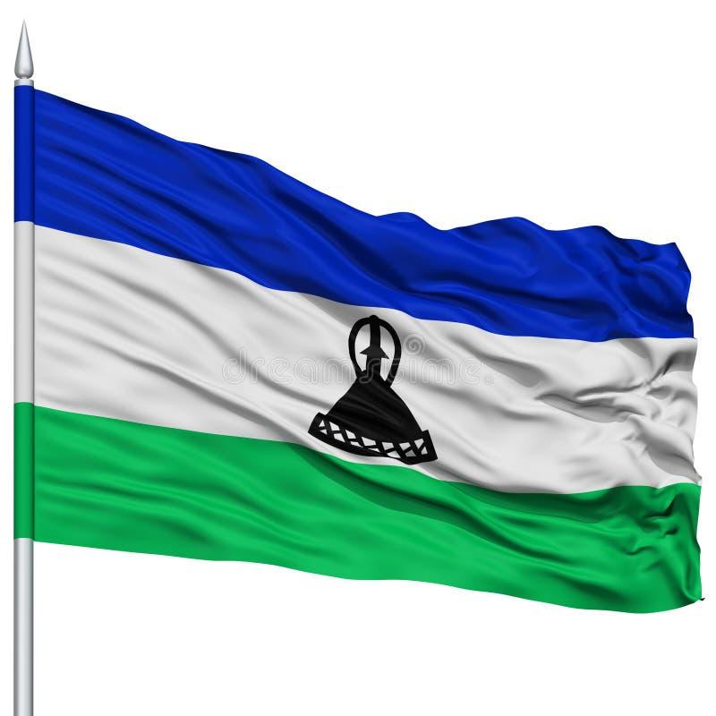 Lesothisk flagga på flaggstång stock illustrationer