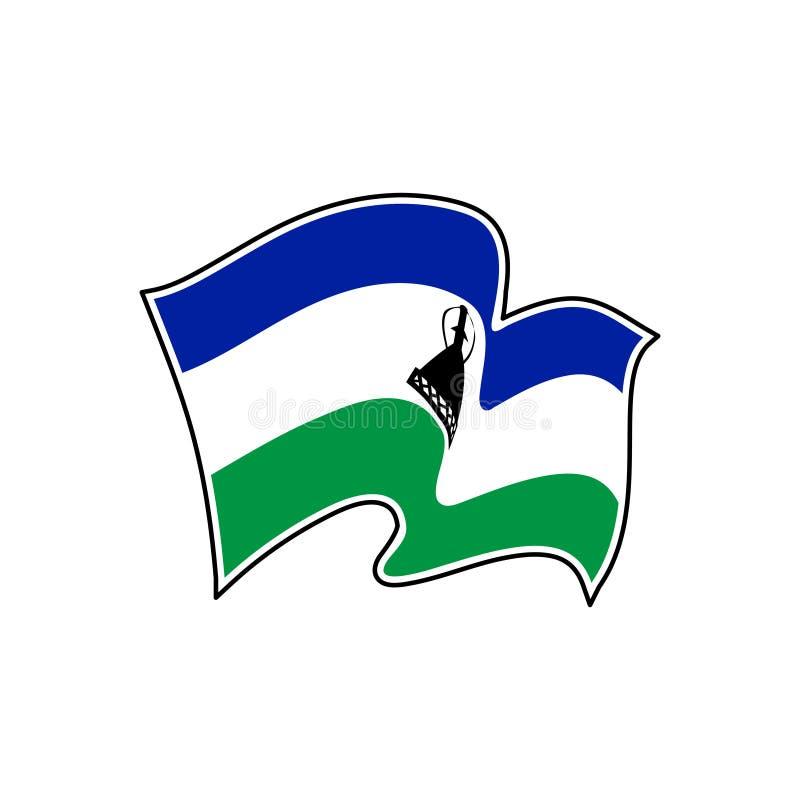 Lesothisk vektorflagga Nationellt symbol av Lesotho stock illustrationer