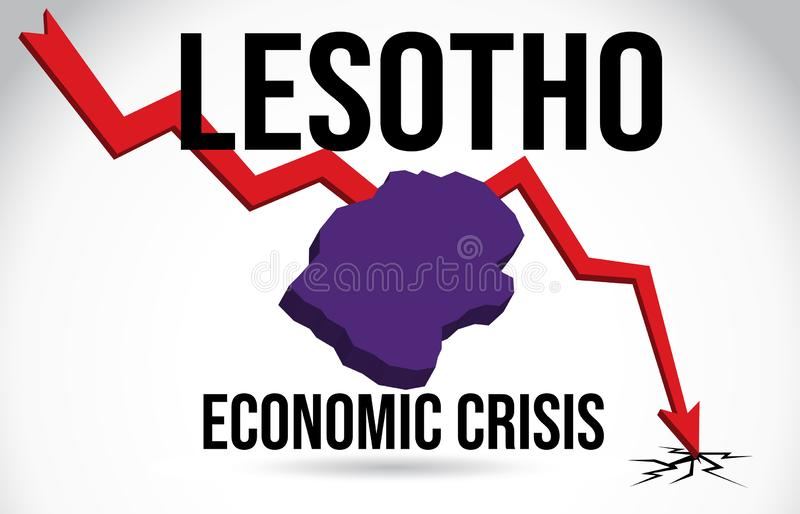 Lesotho Map Financial Crisis Economic Collapse Market Crash Global Meltdown Vector. Illustration royalty free illustration