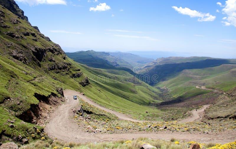Lesotho, officieel het Koninkrijk van het landschap van Lesotho stock afbeelding