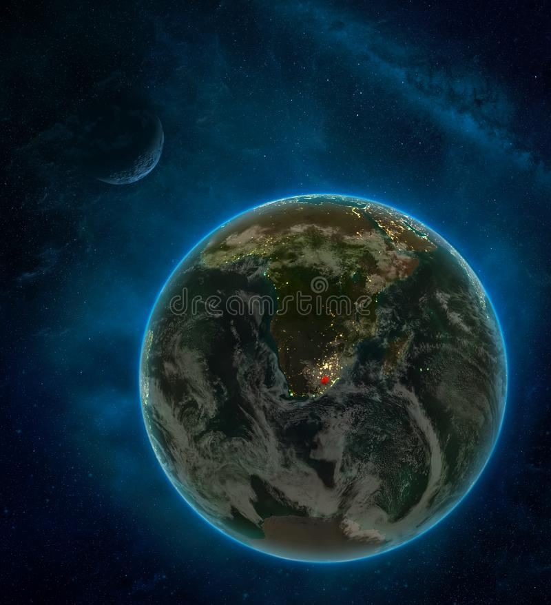 Lesotho from space on Earth at night surrounded by space with Moon and Milky Way. Detailed planet with city lights and clouds. 3D. Illustration. Elements of royalty free illustration