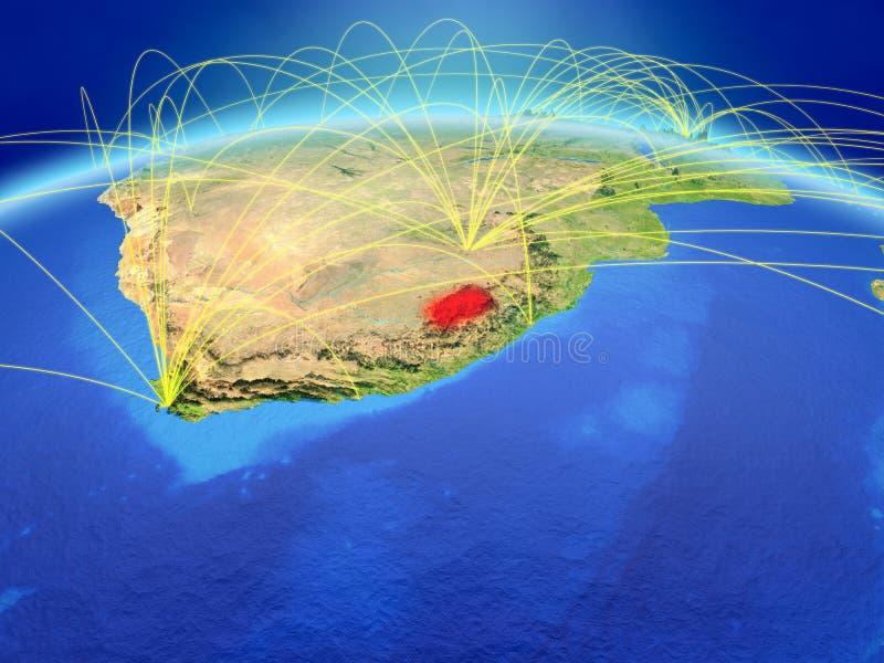 Lesotho ter wereld met netwerk stock foto