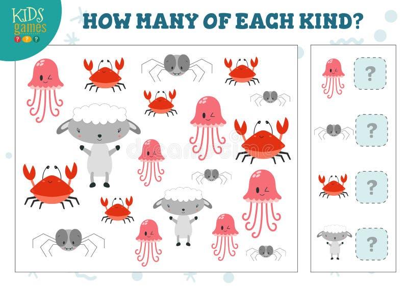 Lesquels des enfants aimables d'animaux de chaque bande dessinée comptant l'illustration de vecteur de jeu illustration stock