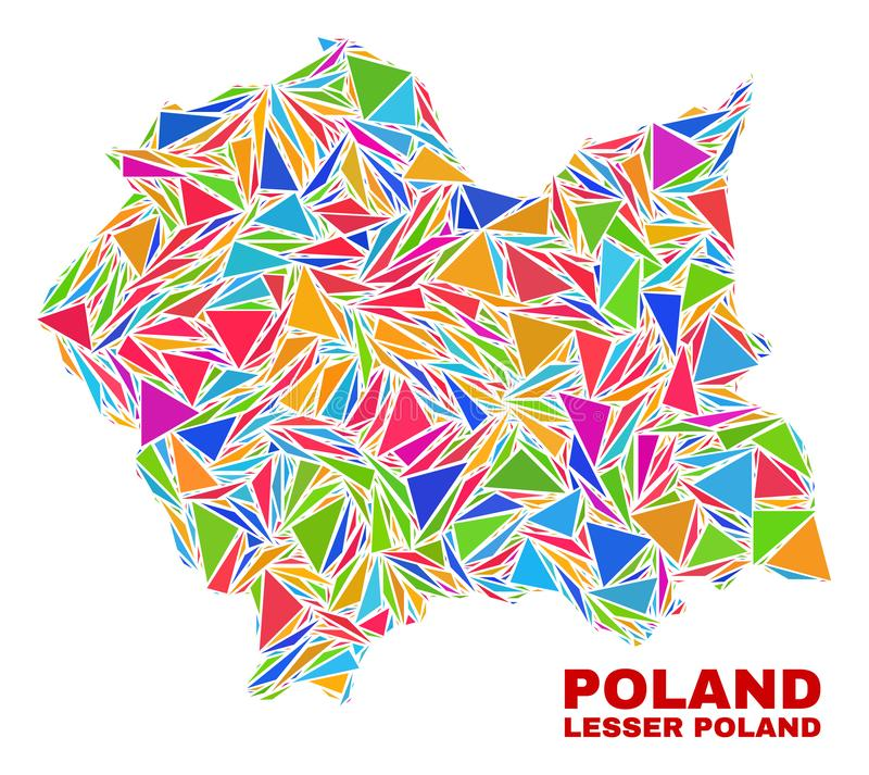 Lesser Poland Voivodeship Map - Mosaic of Color Triangles stock illustration