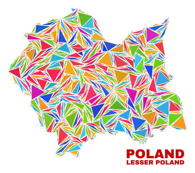 Lesser Poland Voivodeship Map - mosaico dei triangoli di colore illustrazione di stock