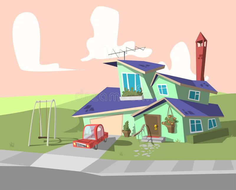Blue cartoon house. llustration of a cartoon country house in spring or summer season stock illustration