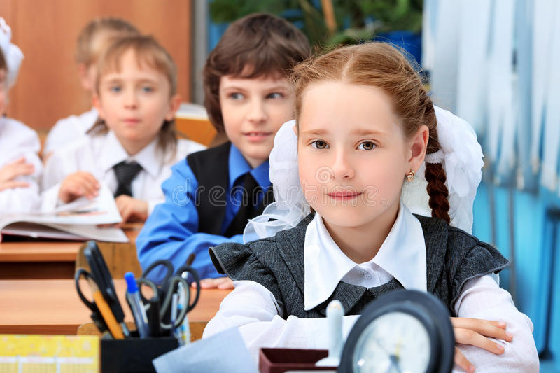 Lesson. Children at school during the lesson royalty free stock photo