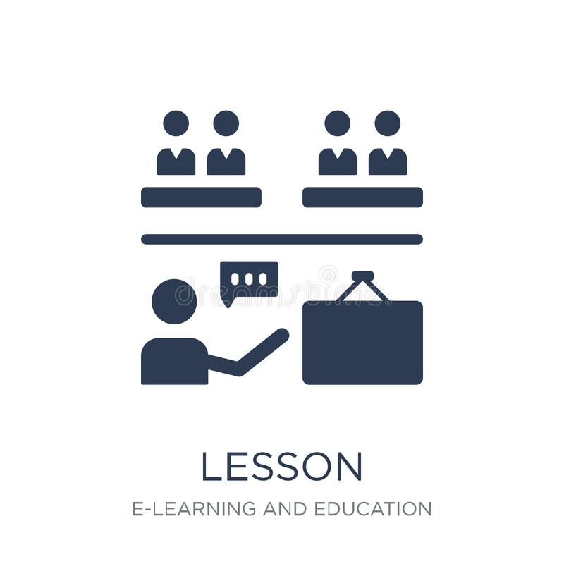 Lesson icon. Trendy flat vector Lesson icon on white background. From E-learning and education collection, vector illustration can be use for web and mobile royalty free illustration