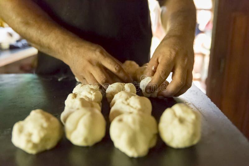 Lesson of parota home made. Parota homemade cooking class full process Pondicherry Tamil Nadu India royalty free stock photos