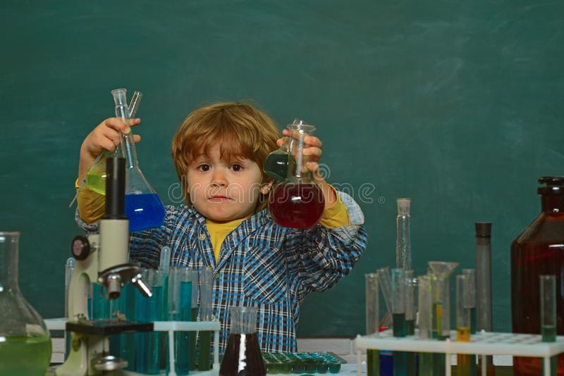 Lesson Plans - Middle School Chemistry. A chemistry demonstration. First grade. Back to school. They carried out a new royalty free stock photography