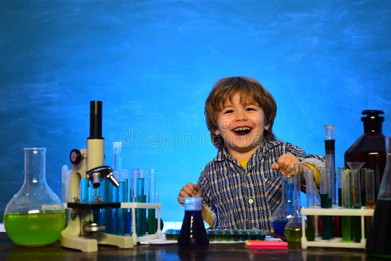 Lesson Plans - Middle School Chemistry. Ready for school. Experiment. First grade. First school day. My chemistry stock image