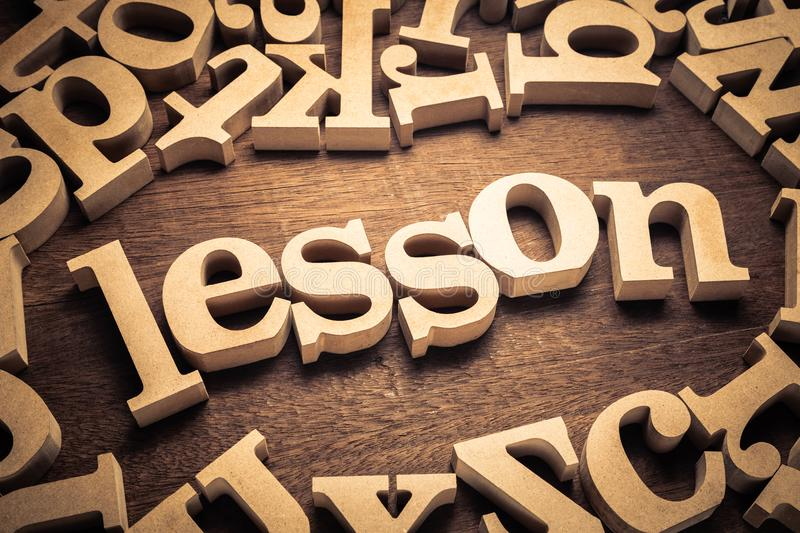 Lesson Wood Word stock images