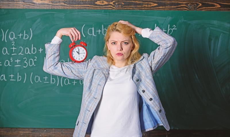 Lessons schedule concept. Time for break. Time has matter for her. Welcome teacher school year. Healthy daily regime royalty free stock image