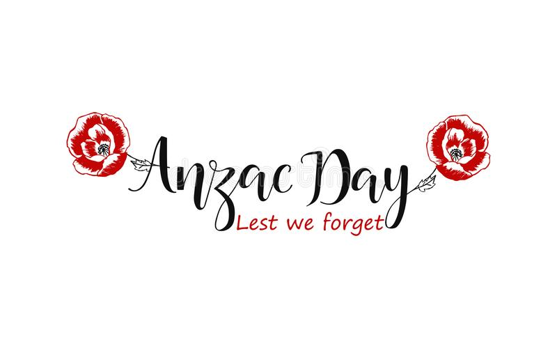 Lest we forget lettering. Anzac day lettering. illustration royalty free illustration