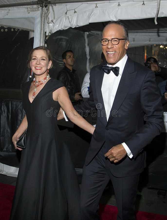 Lester Holt and Carol Hagen. NBC Evening News anchor Lester Holt and wife Carol Hagen arrive for the 2016 Time Magazine 100 Most Influential People in the World stock photography