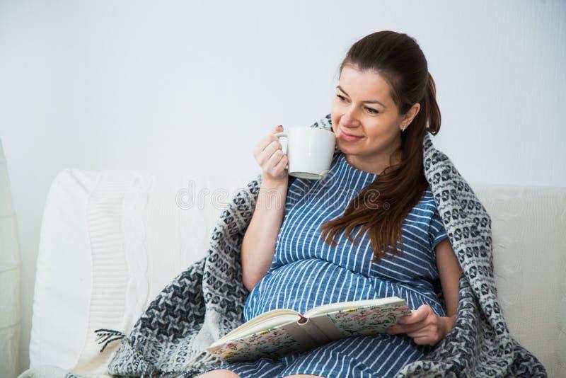 Lesung der schwangeren Frau auf Sofa unter grauem Plaid- und Getränktee lizenzfreie stockbilder