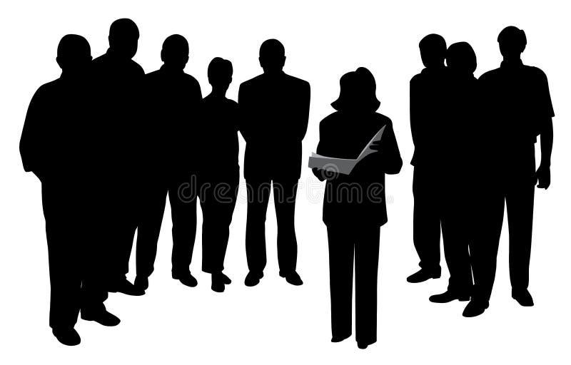 Lesung des öffentlichen Sprechens der Frau, die Darstellung vor Leutegruppe gibt vektor abbildung