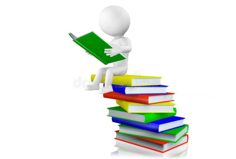 Lesung des Mannes 3d auf einem Stapel von Büchern stock abbildung