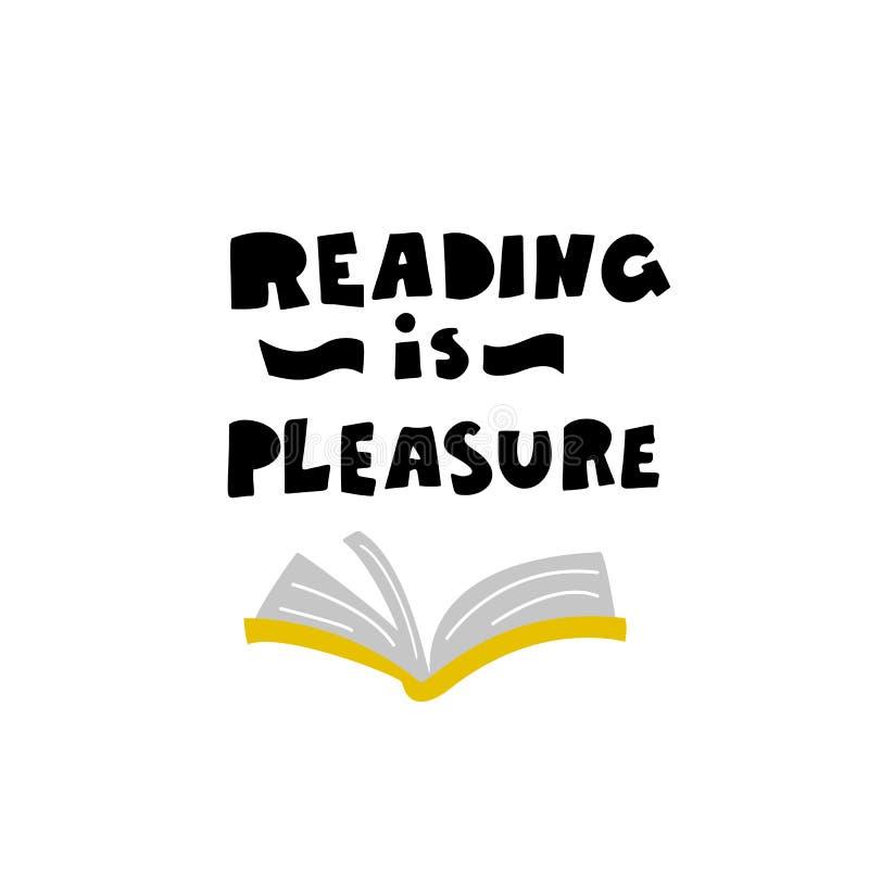 Lesung ist Vergnügen Beschriften der Phrase und der Illustration des offenen Buches, gemacht in der Karikaturart ENV 10 wei? vektor abbildung