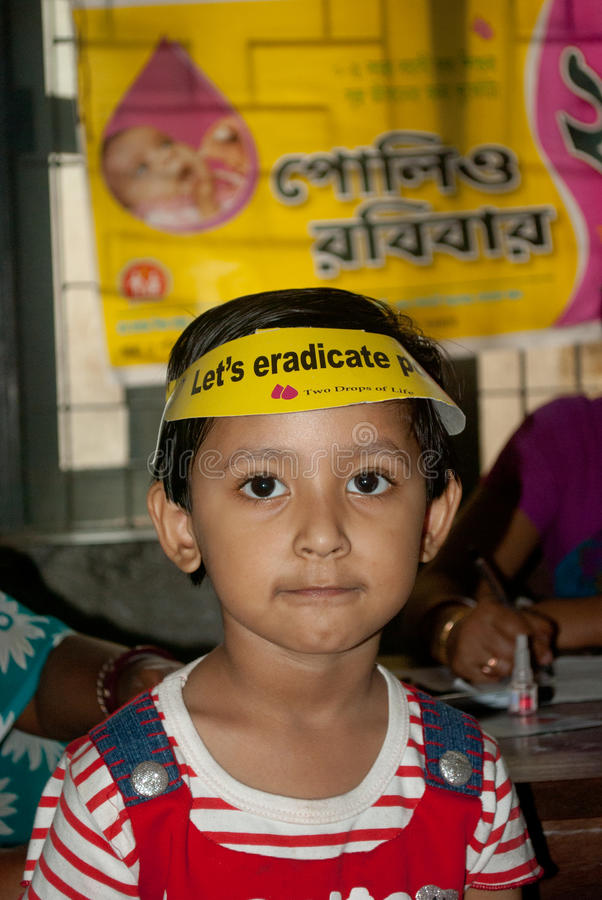 Let's eradicate polio. An Indian child is at Sunday Pulse polio centre in Kolkata, India. Pulse Polio is an immunisation campaign established by the royalty free stock photography