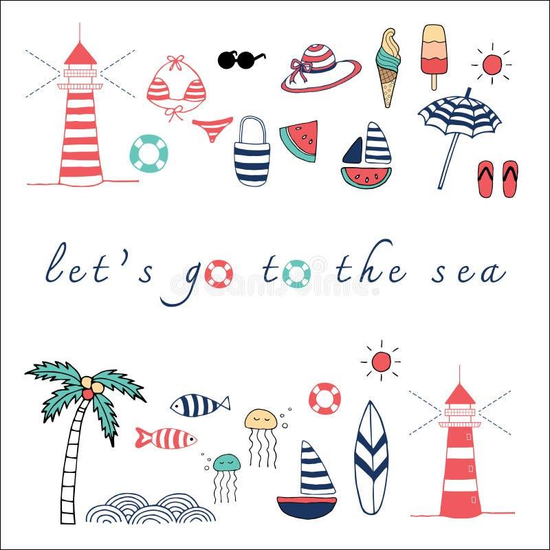 Let's vai o o mar ilustração stock