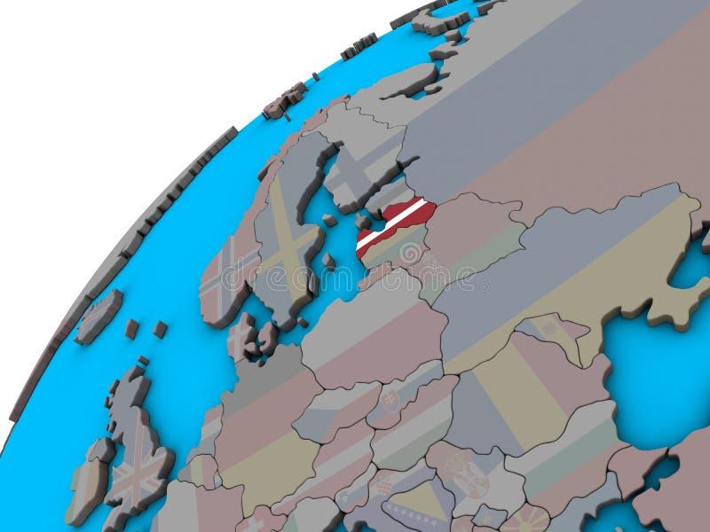 Letónia com a bandeira no globo 3D ilustração do vetor