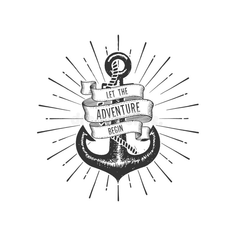 Let the Adventure begin with Anchor Vector illustration vector illustration