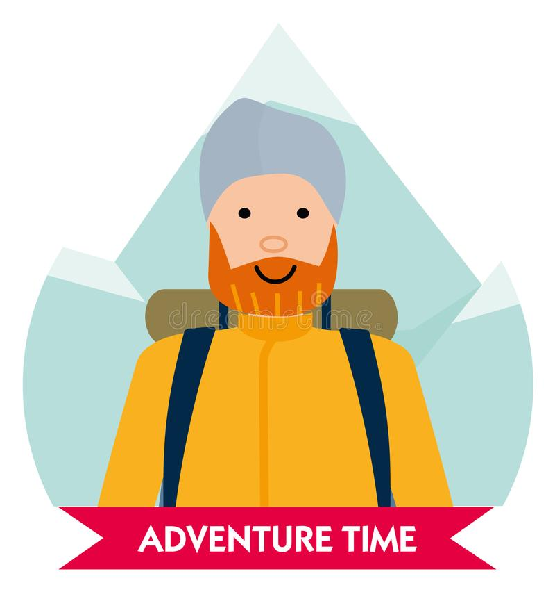 Let the adventure begin. Happy mountaineer in anticipation of adventure. Design element for poster, card. Vector vector illustration