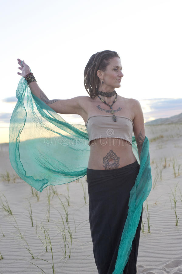 Let Go Yoga Woman In the Desert stock images