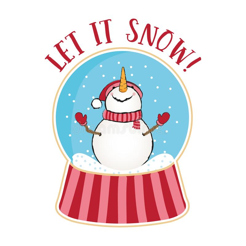 Free Let It Snow-  Funny Quotes With Snowman In Snow Globe. Stock Photo - 162942320