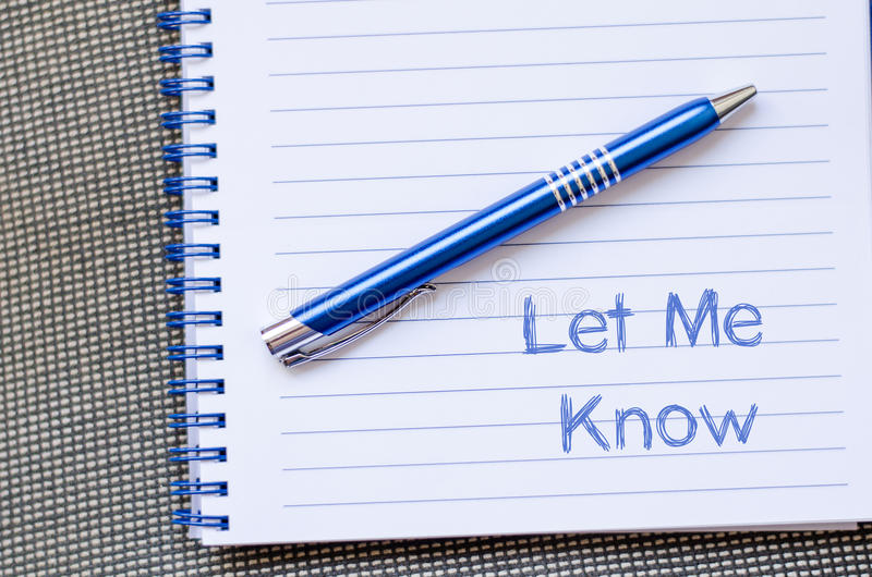 Let me know write on notebook. Let me know text concept write on notebook stock images